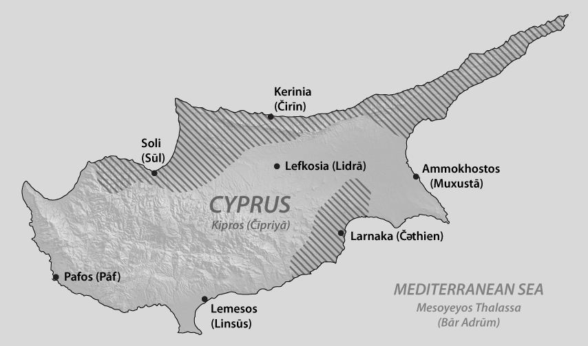 A map of Cyprus showing the main Alashian-speaking areas
