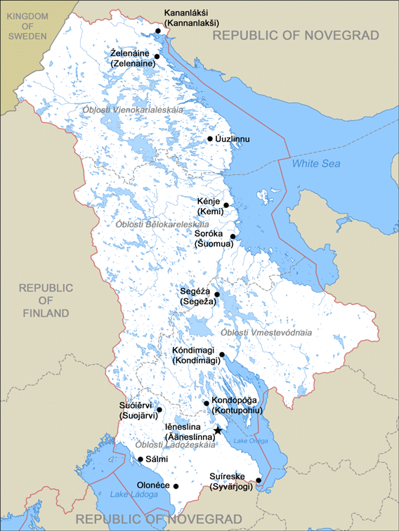 Map of Karelia